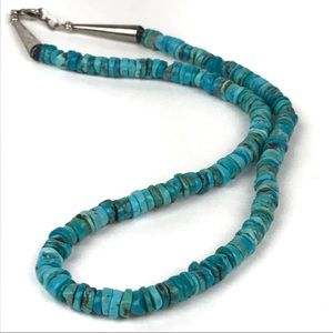 """Vintage Native Style Turquoise Bead Necklace 19"""""""